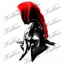 Helmet With Red Hair Tattoo Design