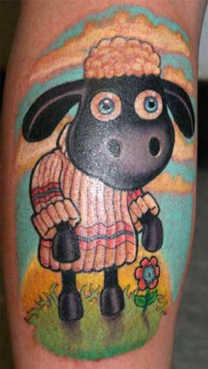 Hilarious Cartoon Animal Sheep Tattoo