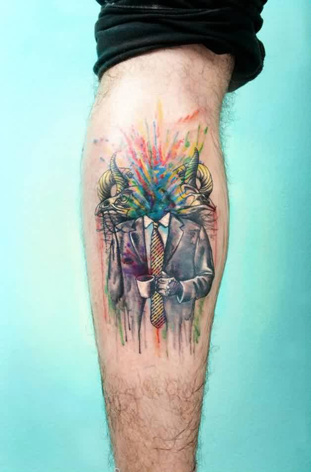 Hilarious Watercolor Tattoo On Calf