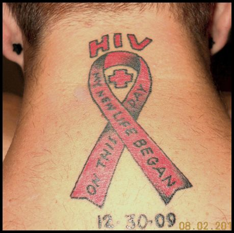 HIV Ribbon Tattoo On Back Neck