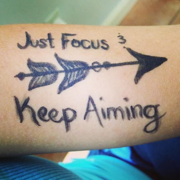 Homemade Lettering And Arrow Tattoos