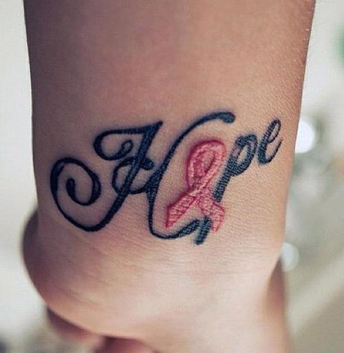 Hope Pink Ribbon Tattoo On Wrist