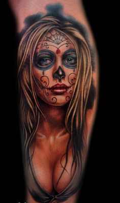 Hot Dia De Los Muertos Girl Portrait Tattoo