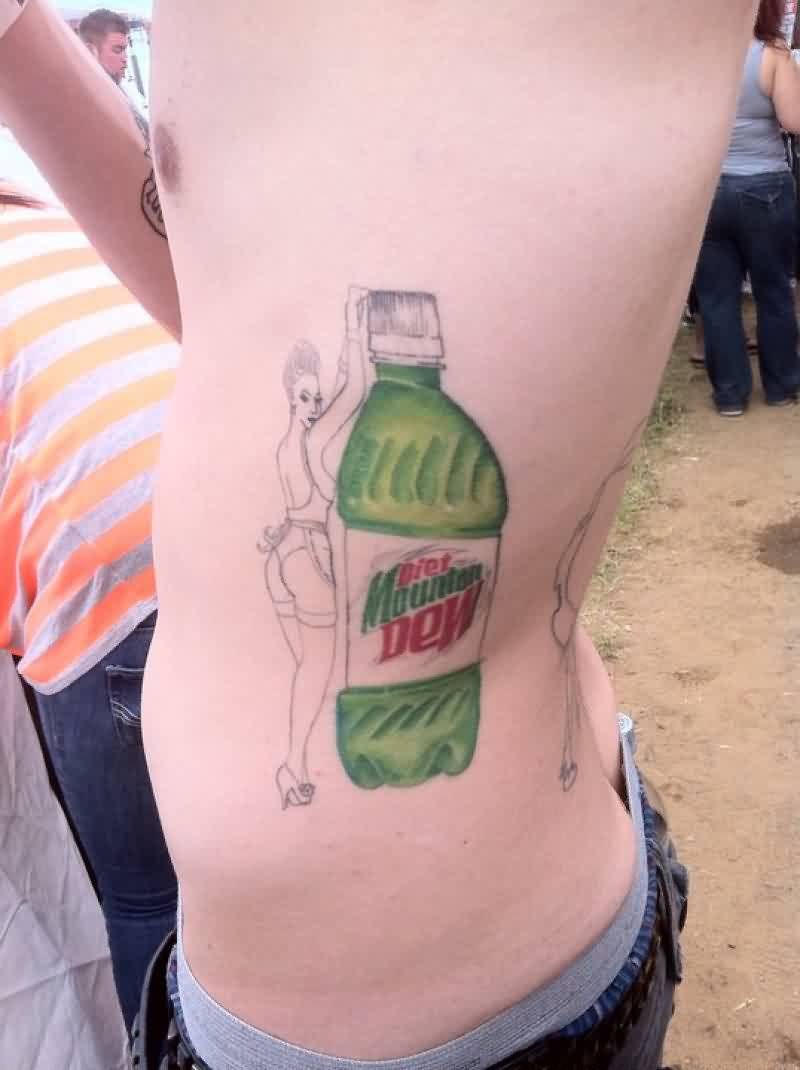 Hot Girl And Mountain Dew Bottle Tattoo On Ribs