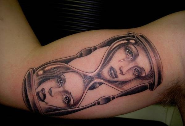 Hour Glass Girls Tattoo On Inner Muscles
