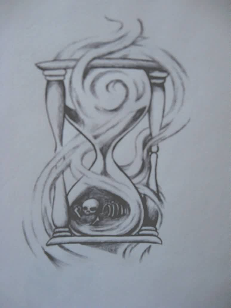 Hour Glass Of Bones Tattoo Design