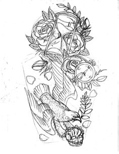 Hour Glass Rose Clock And Bird Tattoos Drawing
