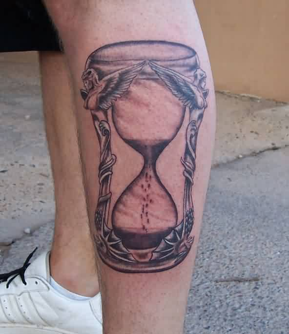 Hour Glass Tattoo On Leg For Boys