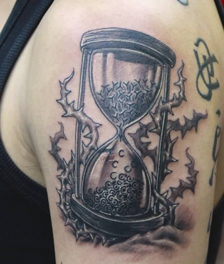 Hourglass Tattoo On Shoulder