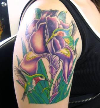 Humingbird On Tulips Tattoo On Shoulder