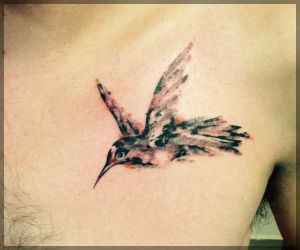 Hummingbird Watercolor Tattoo On Chest