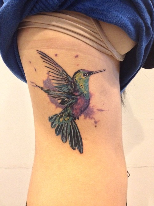 Hummingbird Watercolor Tattoo On Side Of Rib