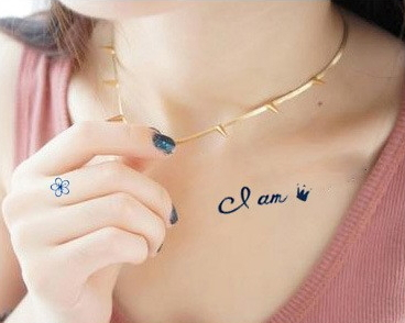 I Am Queen Letters Temporary Tattoo On Chest