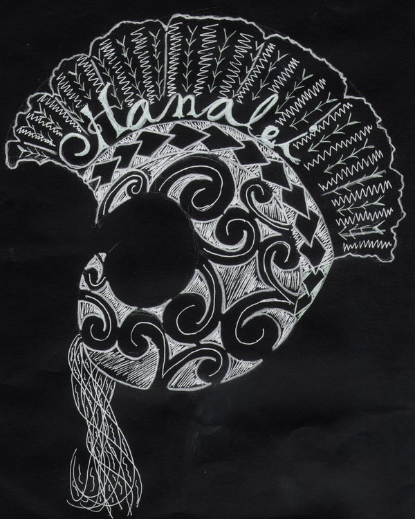 Ikaika Helmet Tattoo Design On Black Background