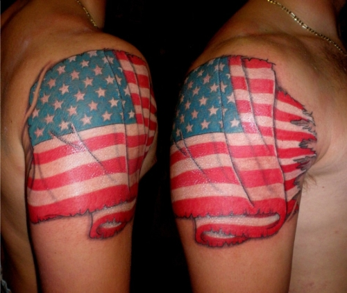Impressive American Flag Tattoo On Shoulders