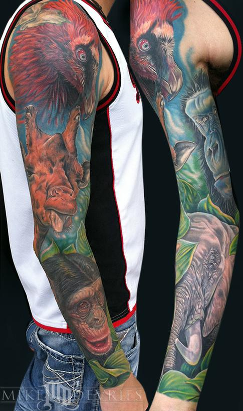 Impressive Animals Tattoos On Sleeve