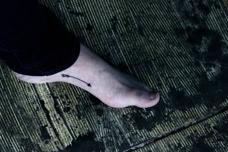 Impressive Black Arrow Tattoo On Foot