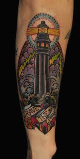 Impressive Black Lighthouse Tattoo On Leg