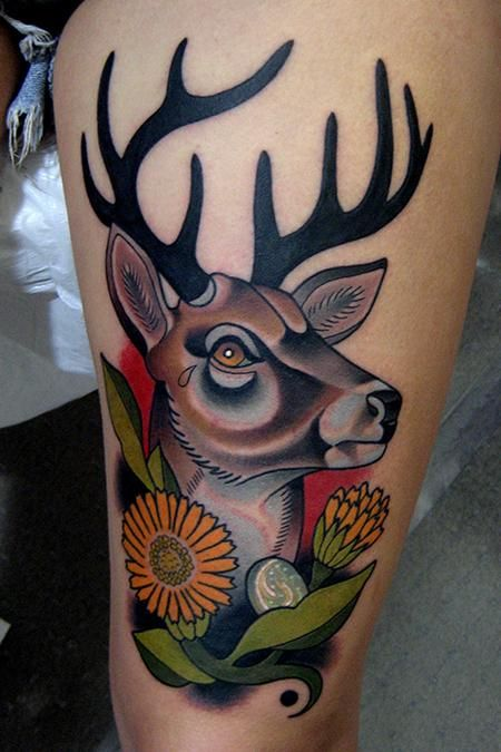 Impressive Deer And Flower Tattoos