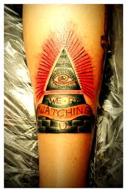 Impressive Eye Pyramid And Banner Tattoos