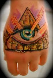 Impressive Eye Pyramid Tattoo On Hand