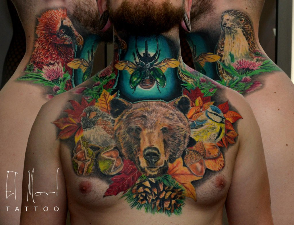 Impressive Forest Animal And Leave Tattoos On Chest