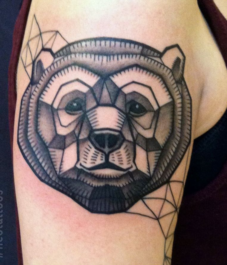 Impressive Geometric Animal Tattoo On Biceps