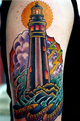 Impressive Lighthouse And Wave Tattoos On Sleeve
