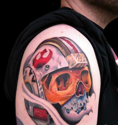 Impressive Skull Helmet Tattoo On Shoulder