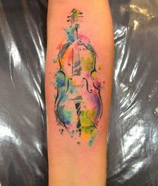 Impressive Watercolor Guitar Tattoo On Forearm