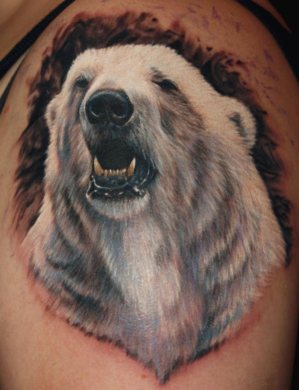 Incredible White Animal Tattoo On Shoulder