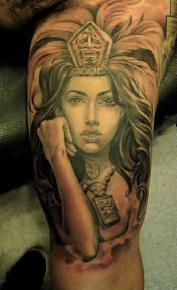 Inner Arm Aztec Queen Tattoo For Men