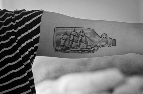 Inner Arm Bottle With Ship Tattoo