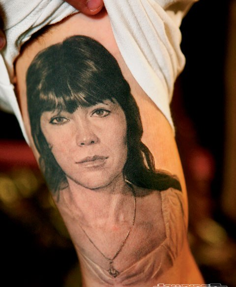 Inner Arm Female Portrait Tattoo