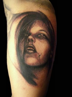 Inner Arm Vampire Portrait Tattoo