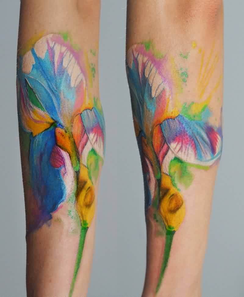 Iris Watercolor Tattoos