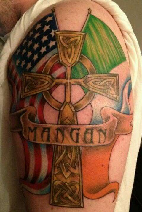 Irish And American Flag With Celtic Cross Tattoos On Half Sleeve
