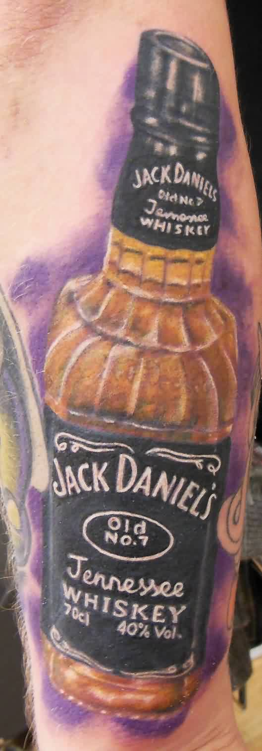 Jack Daniels Bottle Portrait Tattoo