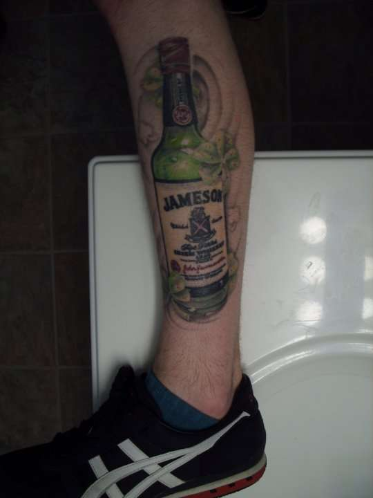 Jameson Bottle Tattoo On Leg For Boys