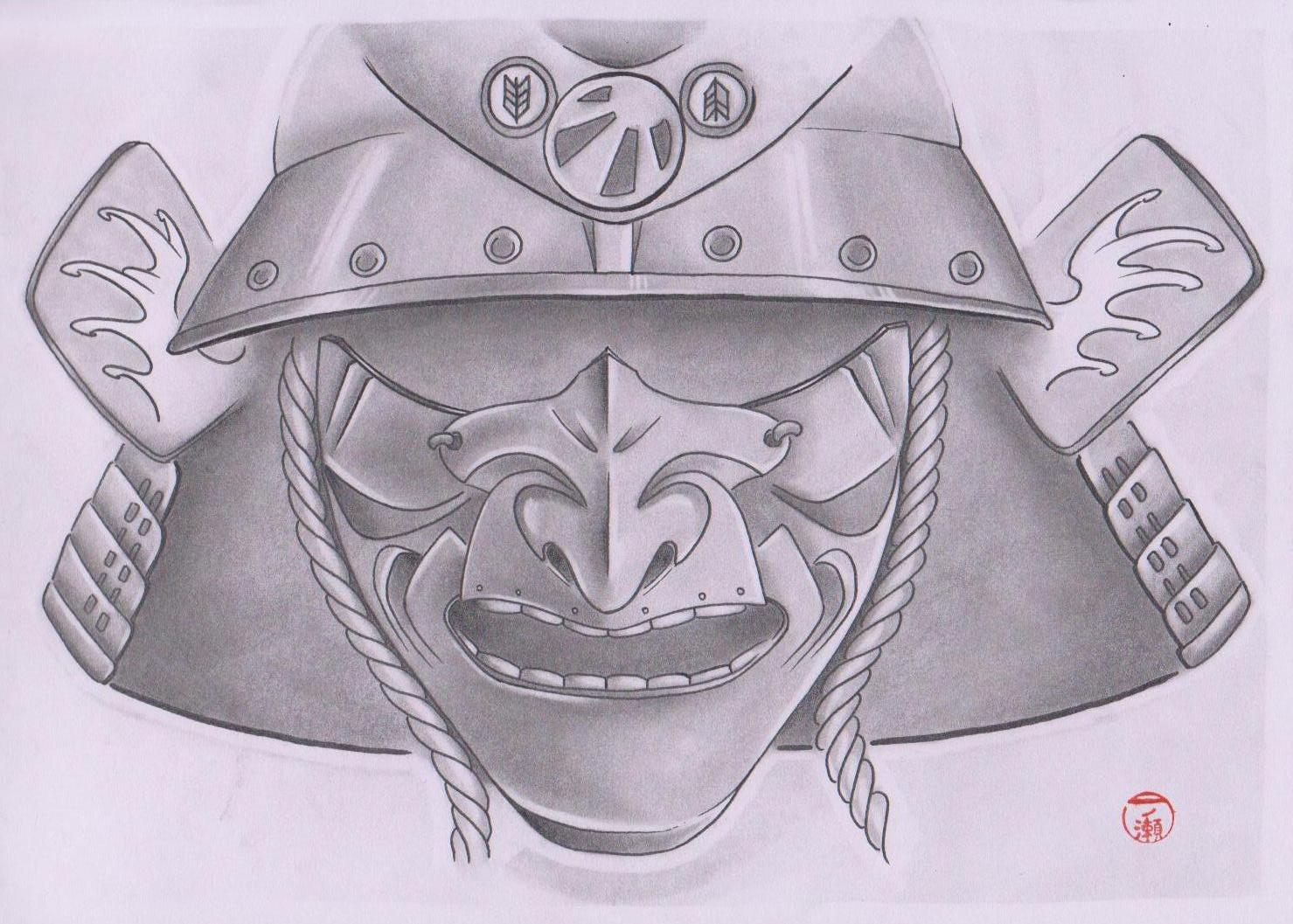 Japanese Helmet Tattoo Drawing