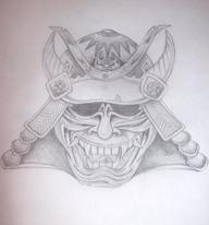 Japanese Helmet Tattoo Sketch