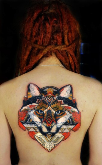Japanese Style Fox Watercolor Tattoo