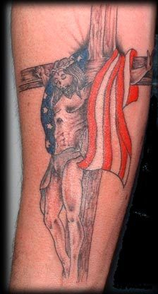 Jesus Cross And American Flag Tattoo