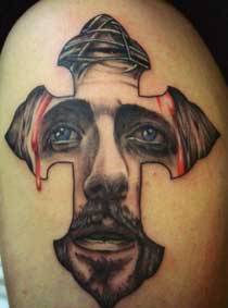 Jesus Portrait Cross Tattoo On Muscles