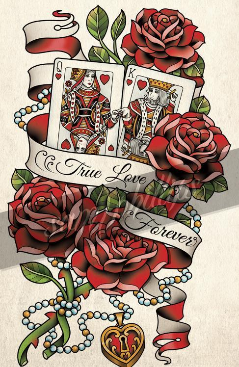 King And Queen Cards And Rose Tattoo Designs