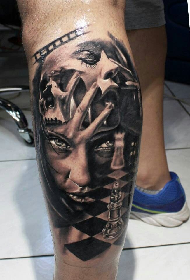 King And Queen Chess Piece Tattoos OnLeg