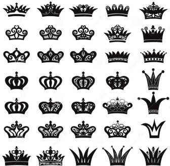 King And Queen Crown Tattoos Set