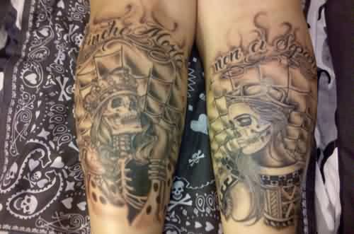 King And Queen Forearm Tattoos