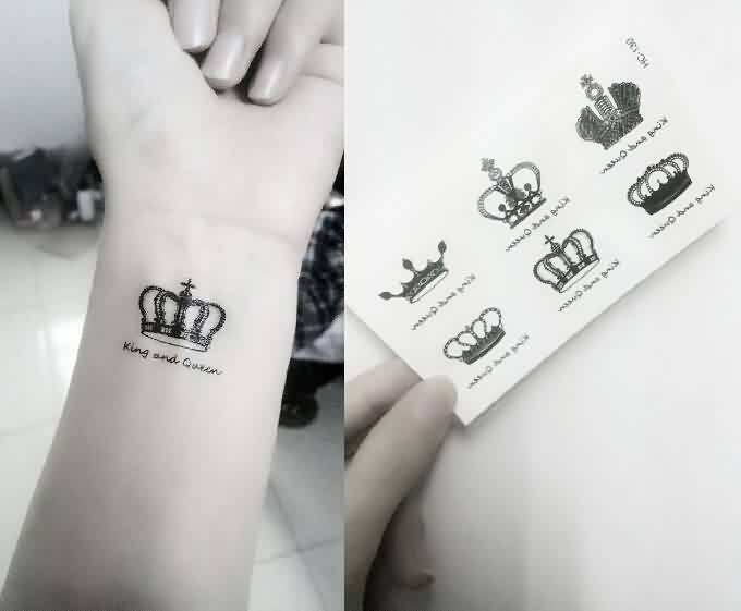 King And Queen Temporary Tattoo On Wrist