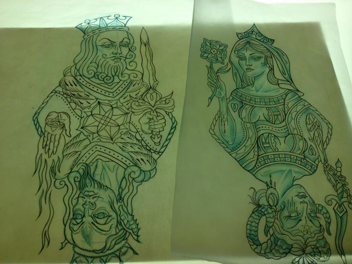 King & Queen Tattoos Flash